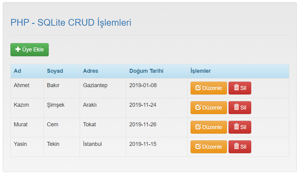 SQLite PHP CRUD Example