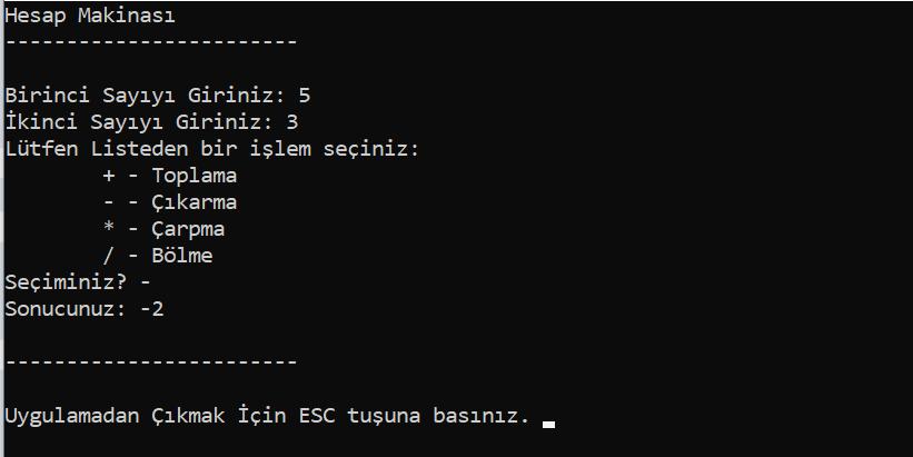 Csharp Console Basit Hesap Makinesi