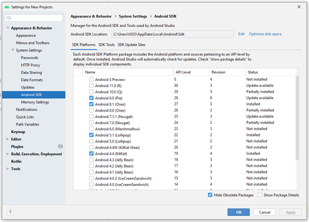 Android SDK Manager - Gerekli Araçları ve Paketleri İndirin