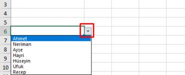 Excel'de Açılır Kutu Oluşturma