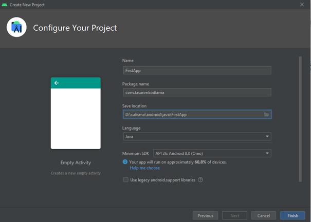 Android Merhaba Dünya Projesi Oluşturma