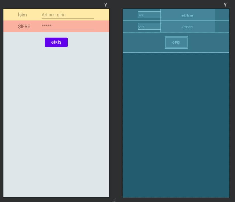 Android Table Layout Kullanımı Örnek